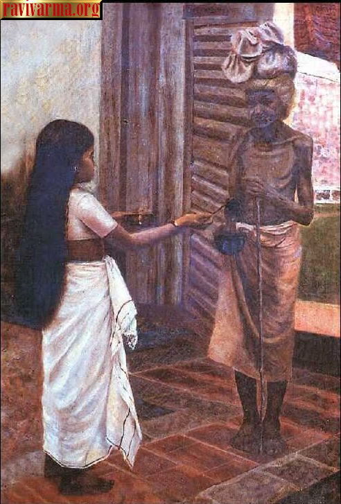 Kerala girl giving alms by Raja Ravi Varma