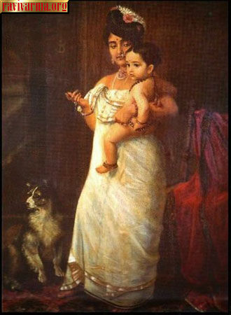 Kerala lady with child by Raja Ravi Varma