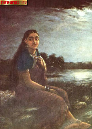 Lonely lady by Raja Ravi Varma