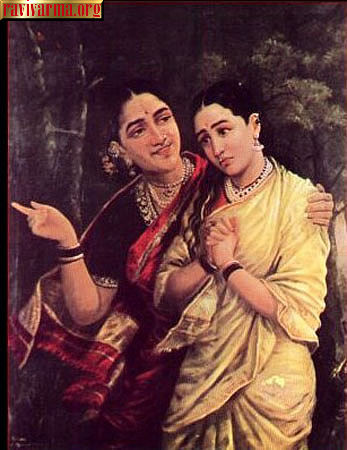 Simhaka and Sairandari by Raja Ravi Varma