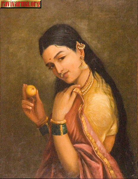 Woman holding a fruit by Raja Ravi Varma